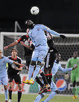 Sporting Kansas City forward Kei Kamara (23) head the ball. Sporting Kansas City defeated D.C. United  1-0 at RFK Stadium, Saturday March 10, 2012.