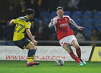 Fleetwood Town's Gethin Jones under pressure from Oxford United's Alex Mowatt<br /> <br /> Photographer Kevin Barnes/CameraSport<br /> <br /> The EFL Sky Bet League One - Oxford United v Fleetwood Town - Tuesday 10th April 2018 - Kassam Stadium - Oxford<br /> <br /> World Copyright &copy; 2018 CameraSport. All rights reserved. 43 Linden Ave. Countesthorpe. Leicester. England. LE8 5PG - Tel: +44 (0) 116 277 4147 - admin@camerasport.com - www.camerasport.com
