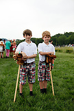 USA, Tennessee, Nashville, Iroquois Steeplechase, portrait of brothers before the stick horse race