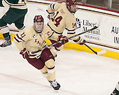 Pat Mullane (BC - 11), Brooks Dyroff (BC - 14) - The Boston College Eagles defeated the visiting University of Vermont Catamounts to sweep their quarterfinal matchup on Saturday, March 16, 2013, at Kelley Rink in Conte Forum in Chestnut Hill, Massachusetts.