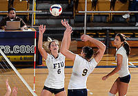 Florida International University women's volleyball player Jessica Egan (6) plays against Florida Atlantic University.  FIU won the match 3-0 on October 26, 2011 at Miami, Florida. .