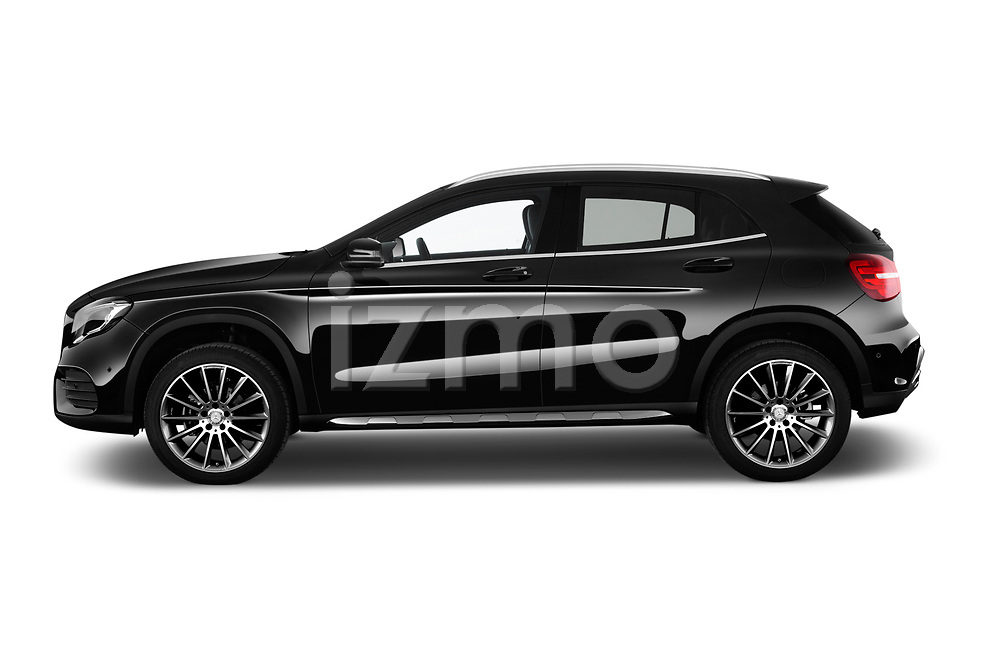 Car driver side profile view of a 2017 Mercedes Benz GLA AMG Line 5 Door SUV