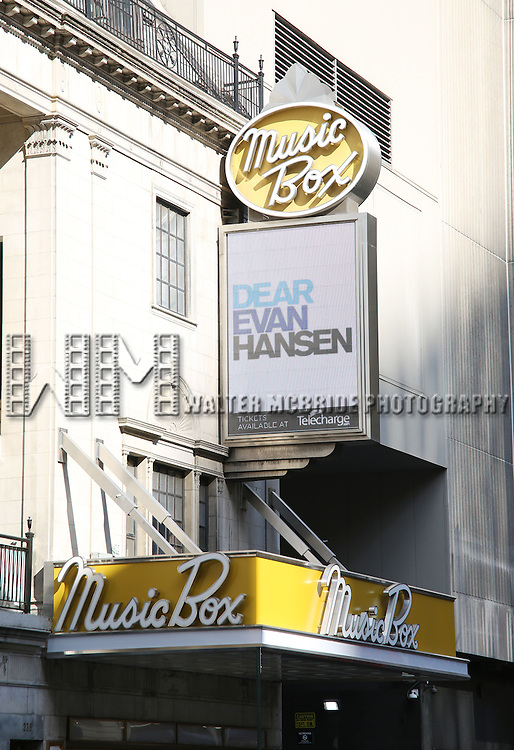 Theatre Marquee unveiling for The Broadway production of Benj Pasek, Justin Paul, and Steven Levenson's award-winning musical 'Dear Evan Hansen' starring Ben Platt  at the Music Box Theatre  on September 15, 2016 in New York City.