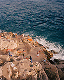 CROATIA, Dubrovnik, Dalmatian Coast, high angle view of tourists at Dalmatian coast