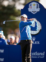 26.09.2014. Gleneagles, Auchterarder, Perthshire, Scotland.  The Ryder Cup.  Rory McIlroy (EUR) on the tee during Friday Fourballs.