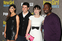 """2 March 2016 - Westwood, California - Hannah Simone, Max Greenfield, Zooey Deschanel, Lamorne Morris. """"New Girl"""" 100th Episode Party held at The W Hotel. Photo Credit: Byron Purvis/AdMedia"""
