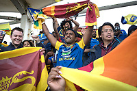 The rain unable to dampen the fans spirits during Afghanistan vs Sri Lanka, ICC World Cup Cricket at Sophia Gardens Cardiff on 4th June 2019