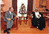 United States Secretary of Defense Dick Cheney meets with His Highness Sayyid Fahr Bin Taimur Al Said, Deputy Prime Minister for Security and Defense, Government of Oman, on August 28, 1990, as part of his four day, six country tour of the Middle-east.  Secretary Cheney sought the support of moderate Arab governments for the United States and allied nation's efforts in opposing Iraqi military aggression in the region.  The August 2, 1990 invasion of Kuwait by Iraq initiated the largest deployment of United States military forces since the Vietnam War era.<br /> Mandatory Credit: Robert D. Ward - DoD via CNP