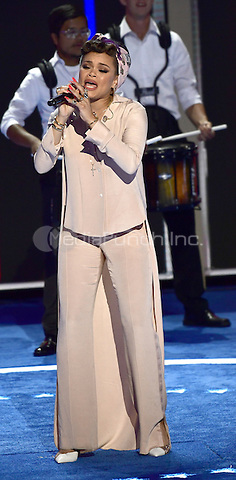 Andra Day performs during the second session of the 2016 Democratic National Convention at the Wells Fargo Center in Philadelphia, Pennsylvania on Tuesday, July 26, 2016.<br /> Credit: Ron Sachs / CNP/MediaPunch<br /> (RESTRICTION: NO New York or New Jersey Newspapers or newspapers within a 75 mile radius of New York City)