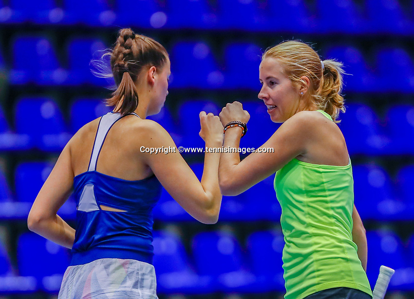 Rotterdam, Netherlands, December 12, 2017, Topsportcentrum, Ned. Loterij NK Tennis, Womans doubles : Chayenne Ewijk (NED) (R) and Erica Vogelsang (NED)<br /> Photo: Tennisimages/Henk Koster