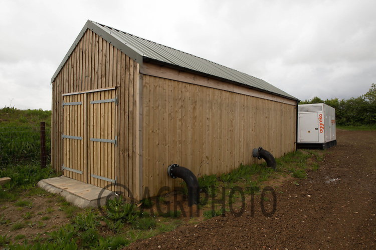 Pump house  on a farm irrigation reservoir <br /> Picture Tim Scrivener 07850 303986<br /> tim@agriphoto.com<br /> ?.covering agriculture in the UK?.