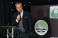 Pictured: Chris Pearlman gives a speech. Wednesday 02 May 2018<br /> Re: Swansea City AFC Official Player Of The Season Awards Dinner 2018 at the Liberty Stadium, Wales, UK.