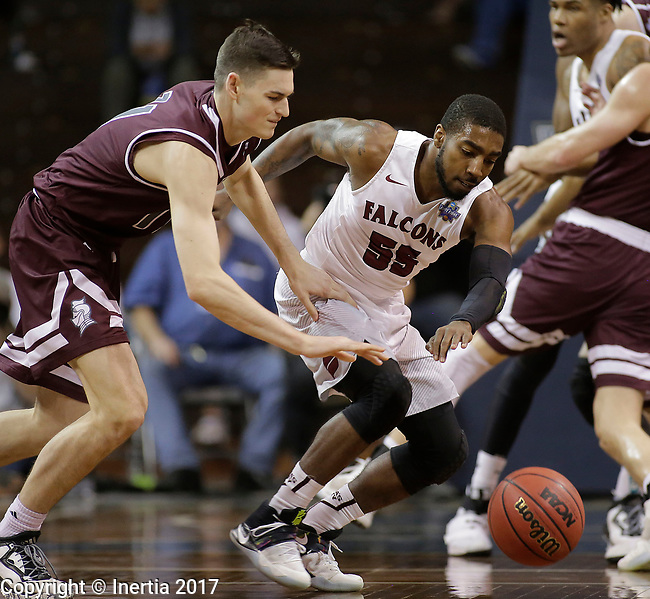 SIOUX FALLS, SD: MARCH 23: Shammgod Wells #55 from Fairmont State battles for the loose ball with Alex Cook #11 from Bellarmine during the Men's Division II Basketball Championship Tournament on March 23, 2017 at the Sanford Pentagon in Sioux Falls, SD. (Photo by Dick Carlson/Inertia)
