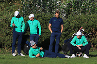 Some of the Irish team waiting at the 16th green during Round 1 Singles of the Men's Home Internationals 2018 at Conwy Golf Club, Conwy, Wales on Wednesday 12th September 2018.<br /> Picture: Thos Caffrey / Golffile<br /> <br /> All photo usage must carry mandatory copyright credit (© Golffile | Thos Caffrey)