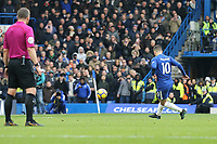 GOAL - Eden Hazard of Chelsea converts a penalty to score his team's third goal of the game to make the score 3-1 during the Premier League match between Chelsea and Newcastle United at Stamford Bridge, London, England on 2 December 2017. Photo by David Horn.