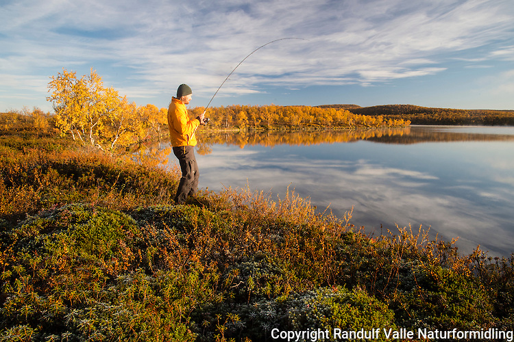 Mann fisker en tidlig høstmorgen. ---- Man fishing in morning.