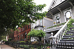 Historic homes are seen on Lincoln Park West in Old Town in Chicago, Illinois on June 19, 2009.