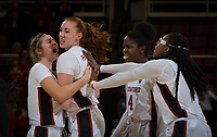Stanford, CA - January 24, 2020: Hannah Jump, Ashten Prechtel, Nadia Fingall, Francesca Belibi at Maples Pavilion. The Stanford Cardinal defeated the Colorado Buffaloes in overtime, 76-68.