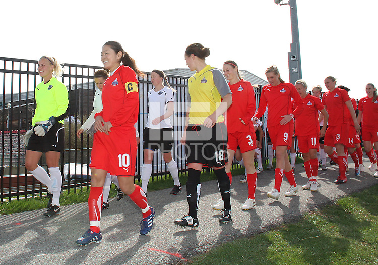 Homare Sawa #10 of the Washington Freedom leads the team onto the field during a WPS pre season match against the Philadelphia Freedom at the Maryland Soccerplex on March 27 2010 in Boyds, Maryland. The game ended in a 0-0 tie.
