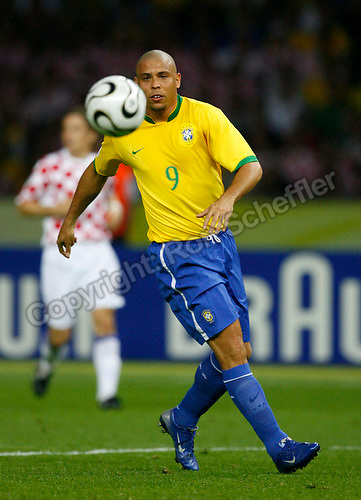 Jun 13, 2006; Berlin, GERMANY; Brazil forward (9) Ronaldo plays against Croatia in 1st round group F action of the 2006 FIFA World Cup at FIFA World Cup Stadium Berlin. Brazil defeated Croatia 1-0. Mandatory Credit: Ron Scheffler-US PRESSWIRE Copyright © Ron Scheffler