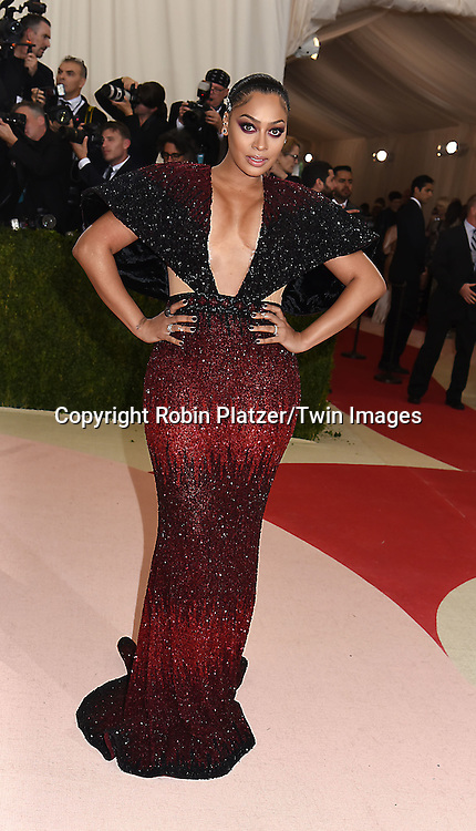La La Anthony attends the Metropolitan Museum of Art Costume Institute Benefit Gala on May 2, 2016 in New York, New York, USA. The show is Manus x Machina: Fashion in an Age of Technology. <br /> <br /> photo by Robin Platzer/Twin Images<br />  <br /> phone number 212-935-0770