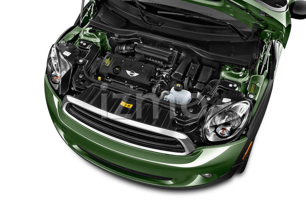 Car Stock 2015 MINI Paceman Cooper 3 Door Hatchback Engine high angle detail view