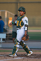 AZL Athletics catcher Jorge Gordon (33) during an Arizona League game against the AZL Giants Orange at Lew Wolff Training Complex on June 25, 2018 in Mesa, Arizona. AZL Giants Orange defeated the AZL Athletics 7-5. (Zachary Lucy/Four Seam Images)