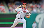 12 April 2012: Washington Nationals pitcher Brad Lidge in action against the Cincinnati Reds at Nationals Park in Washington, DC. The Nationals defeated the Reds 3-2 in 10 innings to take the first game of their 4-game series. Mandatory Credit: Ed Wolfstein Photo