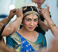 Pryanka getting ready in the Green Room before her Arangetram.