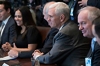 US Vice President Mike Pence listens to remarks during an opioid and drug abuse listening session in the Roosevelt Room of the White House in Washington, DC, USA, 29 March 2017. Photo Credit: Shawn Thew/CNP/AdMedia