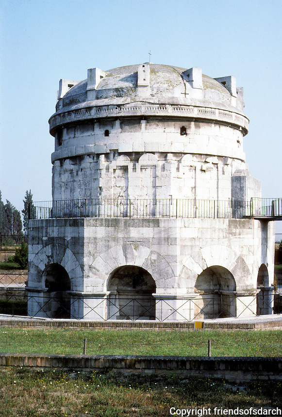 Italy: Ravenna--The Mausoleum of Theodoric. Theodoric D. 526. Photo '83.