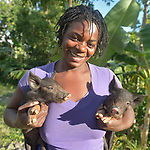 Cheyben Naomie holds baby pigs on the Haitian island of La Gonave where Service Chrétien d'Haïti is working with survivors of Hurricane Matthew, which struck the region in 2016. SCH, a member of the ACT Alliance, supports agriculture on the island by providing tools, seeds, and technical support and training for farmers, as well as donkeys, goats, and pigs for farm families to raise.