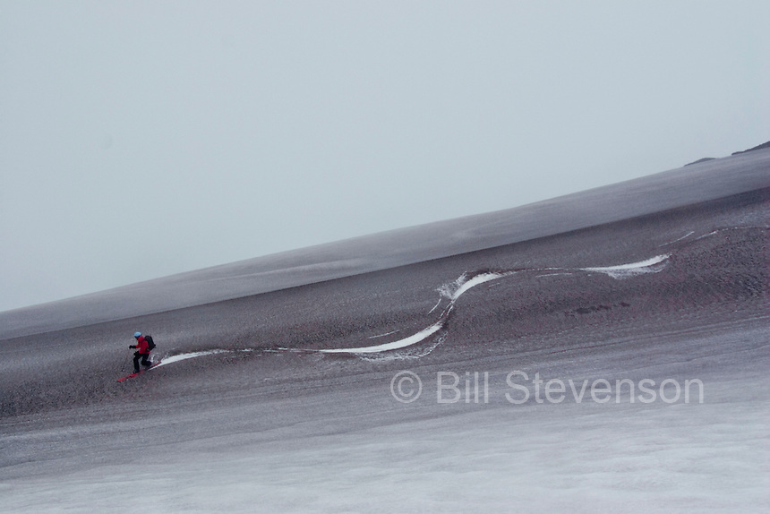 Down lower on the mountain dust covered the snow. Suzie's skis revealed the white layer beneath.