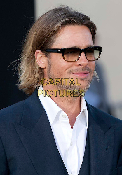 "Brad Pitt.""Moneyball"" Premiere held at The Paramount Theatre, Oakland, California, USA..September 19th, 2011.headshot portrait suit white shirt blue sunglasses shades beard facial hair .CAP/ADM/DA.©Drew Altizer/AdMedia/Capital Pictures."