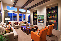 Contemporary Living Room with Wood Ceiling Beams
