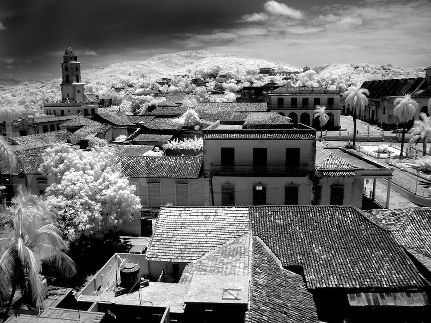 Infra red of aerial of old colonial village of Trinidad Cuba