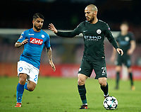 Football Soccer: UEFA Champions League Napoli vs Mabchester City San Paolo stadium Naples, Italy, November 1, 2017. <br /> Manchester City's David Silva (r) in action with Lorenzo Insigne (l) during the Uefa Champions League football soccer match between Napoli and Manchester City at San Paolo stadium, November 1, 2017.<br /> UPDATE IMAGES PRESS/Isabella Bonotto