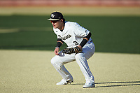 Wake Forest Demon Deacons first baseman Bobby Seymour (3) on defense against the Louisville Cardinals at David F. Couch Ballpark on March 7, 2020 in  Winston-Salem, North Carolina. The Demon Deacons defeated the Cardinals 3-2. (Brian Westerholt/Four Seam Images)