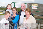NIGHT: Having a great night at the Kerry General Hospital Night at the Dogs at Kingdom Greyhound Stadium, Tralee, on Friday were Kyle Cronin, Ronan and Yvonne Ballard, Rosarie and Eddie Cronin (Tralee)..