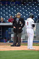 ***Temporary Unedited Reference File***Umpire John Libka during a game between the Iowa Cubs and Nashville Sounds on May 3, 2016 at First Tennessee Park in Nashville, Tennessee.  Iowa defeated Nashville 2-1.  (Mike Janes/Four Seam Images)