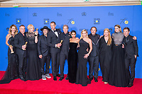 For Best Television Limited Series or Motion Picture Made for Television, the Golden Globe is awarded to &quot;Big Little Lies&quot; (HBO). The cast and crew pose with the award backstage in the press room at the 75th Annual Golden Globe Awards at the Beverly Hilton in Beverly Hills, CA on Sunday, January 7, 2018.<br /> *Editorial Use Only*<br /> CAP/PLF/HFPA<br /> &copy;HFPA/PLF/Capital Pictures