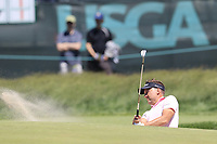 Ian Poulter (ENG) chips from a bunker at the 13th green during Thursday's Round 1 of the 118th U.S. Open Championship 2018, held at Shinnecock Hills Club, Southampton, New Jersey, USA. 14th June 2018.<br /> Picture: Eoin Clarke | Golffile<br /> <br /> <br /> All photos usage must carry mandatory copyright credit (&copy; Golffile | Eoin Clarke)