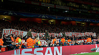 A protest banner during the UEFA Champions League round of 16 match between Arsenal and Bayern Munich at the Emirates Stadium, London, England on 7 March 2017. Photo by Alan  Stanford / PRiME Media Images.
