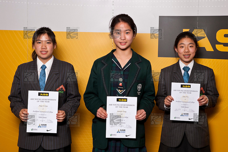 Girls Table Tennis finalists Angie Yi Jiun, Jennifer Tseng & Julia Wu. ASB College Sport Auckland Secondary School Young Sports Person of the Year Awards held at Eden Park on Thursday 12th of September 2009.