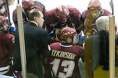 Patrick Wey (BC - 6), Mike Cavanaugh (BC - Associate Head Coach), Brian Dumoulin (BC - 2), Cam Atkinson (BC - 13), Matt Lombardi (BC - 24), Jerry York (BC - Head Coach) - The Merrimack College Warriors defeated the Boston College Eagles 5-3 on Sunday, November 1, 2009, at Lawler Arena in North Andover, Massachusetts splitting the weekend series.