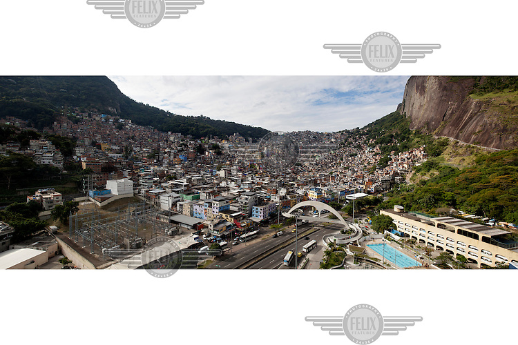 The Rocinha favela with Dois Irmaos (Two Brothers Mountain) to the right.