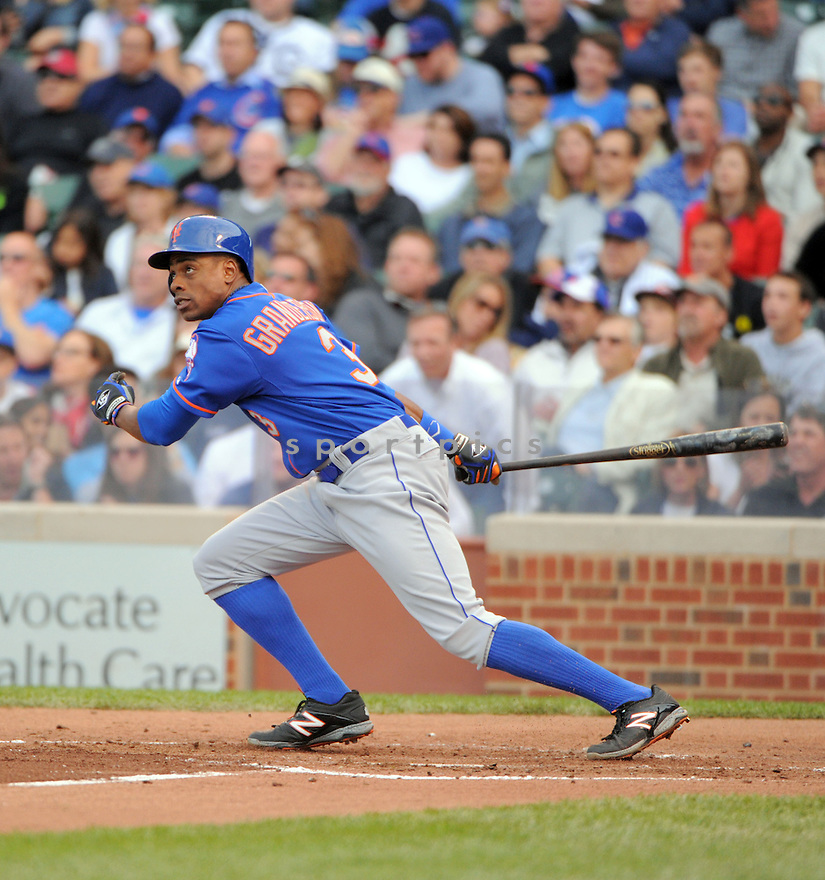 New York Mets Curtis Granderson (3) during a game against the Chicago Cubs on June 5, 2014 at Wrigley Field in Chicago, IL. The Cubs beat the Mets 7-4.