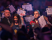 21.12.2014.  London, England.  William Hill World Darts Championship. Kim Huybrechts (18) [BEL] makes his way to the stage before his match against Mickey Mansell [NIR].  Huybrechts won the match 3-0