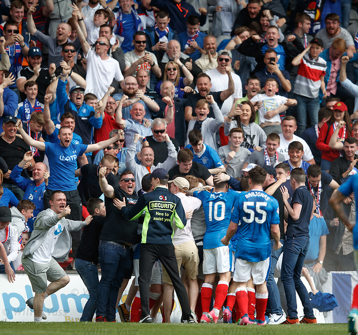 Joe Garner celebrates his winner for Rangers