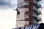 Skate boarders practice on Big Air during the summer X-Games at the Circuit of the Americas race track in Austin, Texas.